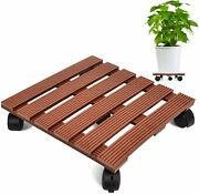 Brown 14 Inch Plant Caddy Heavy Duty Plant Stand With 5 Wheels Holds Up 150 Lbs