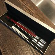 Christofle Paris Chopsticks Silver Black And Red Pair Set From Japan F/s
