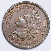 1901 Indian Head Small Cent Choice Bu Free Shipping E146 Uch