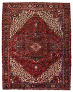 Vintage Tribal Oriental Heriz Rug 10and039x13and039 Red/blue Hand-knotted Wool Pile