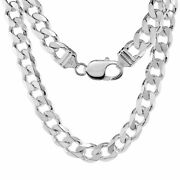Sterling Silver 9.3mm Thick Strong Heavy Curb Cuban Link Chain Necklaces For Men