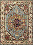 Tribal Heriz Serapi Rug 9and039x12and039 Light Blue/ivory Hand-knotted Wool Pile