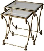 Butler Beverly Antique Gold Nesting Tables New