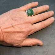 Mens Large Classic Bold Jade Sterling Silver Ring In A Heavy Weight