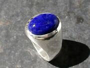 Mens Heavy Oval Lapis Lazuli Ring In Sterling