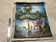 Rare Jean Paul Original Vintage Painting Red Fishing Boat And Palm Trees 1980s
