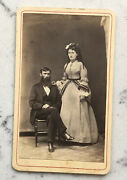 Antique Cdv Photograph Attributed To Union General John Rawlins W Wife Civil War