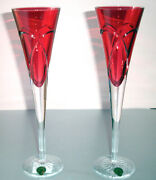 Waterford Love And Romance Champagne Flutes Crimson Red Crystal 11h Ireland New