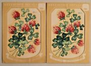 2x Vintage 1940s Meyercord Transfer Pictures Floral Decals Rare Nos -- 2057