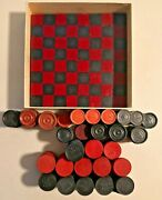Vintage 1940s Halsam Wood And Bakelite Checkers In Box Over 100 - 2060