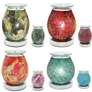 Electric Mosaic Crackled Glass Oil Burner Scented Melt Aroma Lamp 4 Colourways