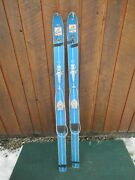 Vintage 50 Long Wooden Skis With Bindings + Blue Finish Laminated Maple