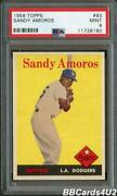 1958 Topps 93 Sandy Amoros Psa 9 Mint Very Low Pop 1/5 None Higher Dodgers