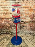 Chicago Cubs Inspired Vintage Glass Acorn Gumball Man Cave Unique Penny Machine