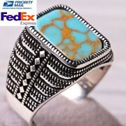 Turkish Jewelry 925 Sterling Silver Dalmatian Antique Turquoise Stone Mens Ring