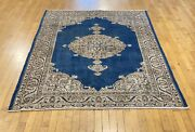 Bohemian Late 1940and039s Antique Teal Blue Dye Wool Pile Oushak Rug 7andrsquo9andrdquox4andrsquo10andrdquo