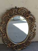 Vintage Mirror Burwood Scrolled Gold Wall Mantle Wall Hanging Oval