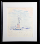 Dimitrie Berea Statue Of Liberty 39 Ink And Pastel On Paper Signed
