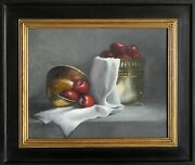 Unknown Artist Apple Still Life Oil On Canvas Signed And039garibaldiand039
