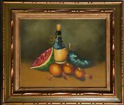 Unknown Artist Still Life With Chianti And Fruit Oil On Canvas Signed And039e. Max
