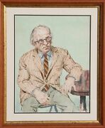 Philip Reisman Portrait Of A Man In Glasses Watercolor Signed And Dated L.r.