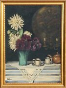 F. Weber Still Life With Flowers Oil On Board Signed L.l.