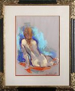 Jan De Ruth Seated Girl Pastel On Paper