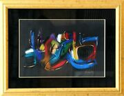 Brenda Singletary Colorful Abstract On Black Pastel On Paper