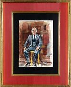 Marshall Goodman Portrait Of Man In Suit Watercolor On Notebook Paper Signed L