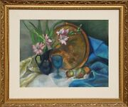 Adela Smith Lintelmann Still Life With Flowers And Copper Platter Pastel On Pa