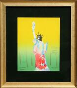 Peter Max Statue Of Liberty Yellow/green Lithograph Signed And Dated In Pen