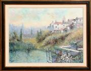 Rouget Village On Hill Oil On Canvas Signed