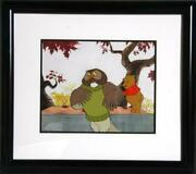 Walt Disney Studios Pooh And Owl Hand Painted Production Cel With Drawing