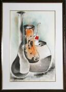 David Schluss The Trio Vase Pastel And Wax On Paper Signed In Pencil