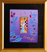 Peter Max Statue Of Liberty Acrylic And Collage Mixed Media On Paper Signed