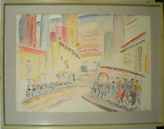 Winthrop Neilson Night Crowd Ink And Watercolor Signed