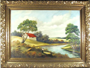 A. Weiss, Untitled - Farm Landscape, Oil On Canvas