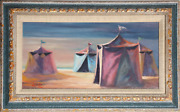 Philippe Alfieri Circus Tents Oil On Canvas Signed L.l.