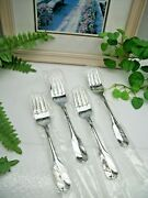 Nos 4  Oneida Wm A Rogers Deluxe Gloria Montclair Stainless Salad Forks New