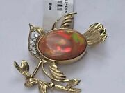Vintage Bird Brooch 14k Gold Mexican Fire Opal With Diamonds