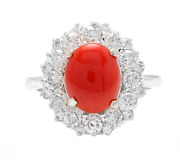 3.30 Carats Natural Coral And Diamond 14k Solid White Gold Ring