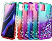 For Iphone 12/mini/11/pro Max Case Bling Liquid Glitter Cover + Tempered Glass
