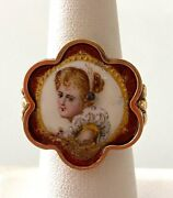 14k Gold Old Victorian 1890s Russian Hand Painted Ring Size 6