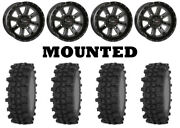 Kit 4 Frontline Acp Tires 35x9.5-20 On System 3 St-4 Gloss Black Wheels Can