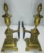 Vintage Heavy Bronze And Cast Iron Fireplace Andirons Early American  Rare Style