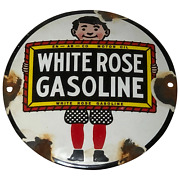 Canadian Old Mid 20th Century White Rose Gasoline Advertising Wall Enamel Sign