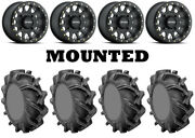 Kit 4 High Lifter Outlaw 3 Tires 28x9-14 On Method 401 Beadlock Matte Black Can