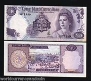 Cayman Islands 40 Dollars P9 1974 Queen Ship Boat Pirate Unc Money Bank Note