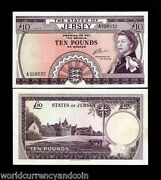 Jersey 10 Pounds P10 1972 Queen Unc Rare Great Britain Uk Money Bill Bank Note