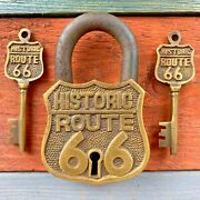 Historic Route 66 Brass Lock And 2 Keys, Embossed Lettering, Antique Finish